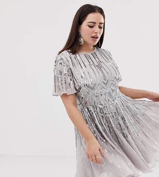 Asos DESIGN Curve mini skater dress with sparkle embellishment c0f16d3b46e