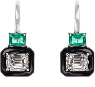 Nikos Koulis Oui 18k White Gold Black Enamel, Emerald & Emerald-Cut Diamond Earrings
