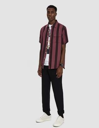 Saturdays NYC Nico Broad Stripe Short Sleeve Shirt