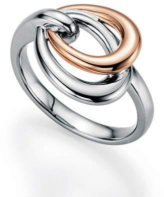 Breuning Two-Tone Sterling Silver Interlocked Circle Ring