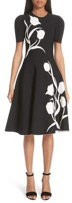 Carolina Herrera Floral Detail Knit Fit & Flare Dress