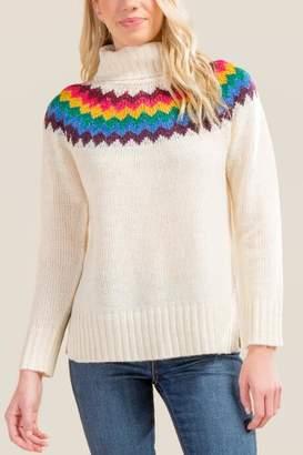 francesca's Nala Multi Fair Isle Sweater - Ivory