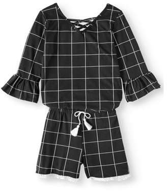 ONE STEP UP Ruffled Sleeve 3/4 Sleeve Yummy Romper (Little Girls & Big Girls)