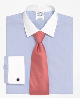 Brooks Brothers Regent Fitted Dress Shirt, Non-Iron Contrast Spread Collar French Cuff