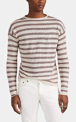 Eidos Men's Striped Linen-Blend Crewneck Sweater - Red Pat.