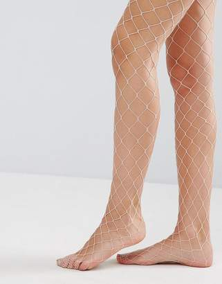 Asos Oversized Fishnet Tights In Pink