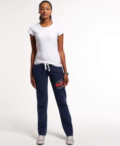 Neue Damen Applique Slim Jogginghose Princeton Blau Meliert