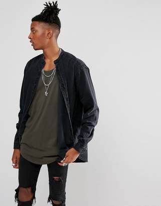 Asos Design Oversized Longline Denim Shirt With Raw Neckline
