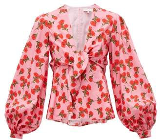 Borgo de Nor Chloe Rose Print Tie Front Cotton Blouse - Womens - Pink Print