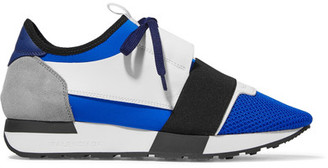 Balenciaga - Race Runner Leather, Mesh And Neoprene Sneakers - Blue $695 thestylecure.com