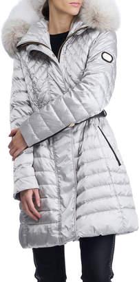 Gorski Apres-Ski Belted Puffer Coat w/ Fur-Trim Hood