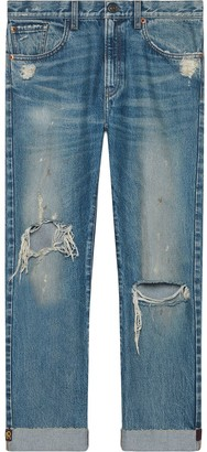 Gucci Jeans with embroidered ribbon