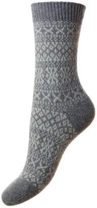 Pantherella Womens Faith Winter Fairisle Cashmere Socks - Flannel