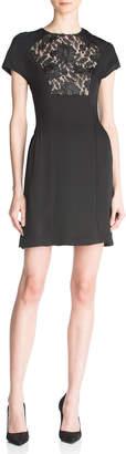 The Kooples Short-Sleeve Lace Front-Yoke Mini Dress