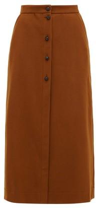 BLAZÉ MILANO Chinook Felted Wool Blend Midi Skirt - Womens - Brown