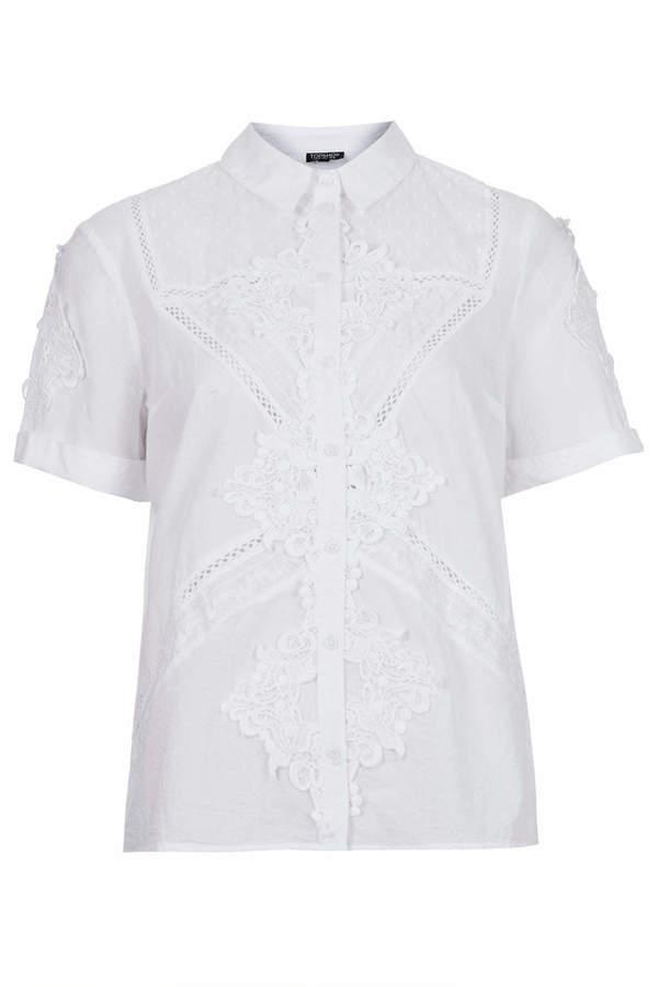Topshop Cotton broderie shirt