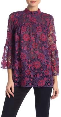 Anna Sui Flowers & Lace Jacquard Top