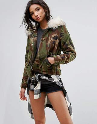 Only Camo Parka With Fleece Lining