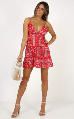 Showpo Dont Let Me Forget dress in red print - 8 (S) Sale Dresses
