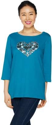 Factory Quacker Heart Sequin T-shirt with Bateau Neck