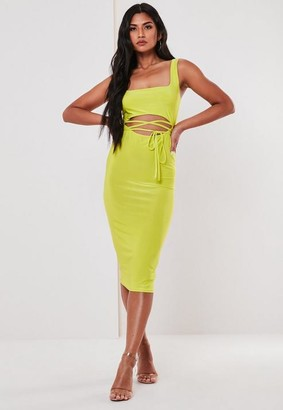 Missguided Lime Slinky Cut Out Midi Dress