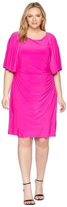 Lauren Ralph Lauren Plus Size 1T Matte Jersey Jessup 3/4 Sleeve Day Dress Women's Dress