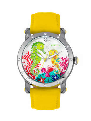 Morgan Bertha Quartz Collection Silver And Yellow Leather Watch 38Mm