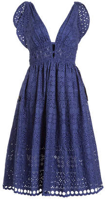 Self-Portrait Tie Shoulder Lace Midi Dress with Cotton