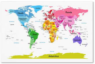 "Kids II Trademark Global Michael Tompsett 'World Map for Kids II' 22"" x 32"" Canvas Wall Art"