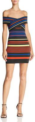 Wow Couture Striped Off-the-Shoulder Dress