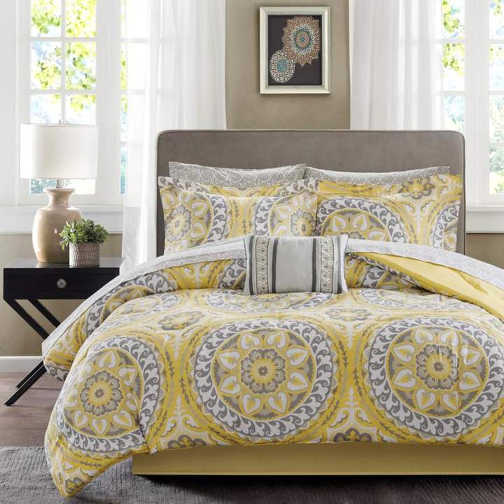 Madison Park Serenity Twin 7-piece Complete Bed and Sheet Set - Yellow