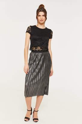 Ardene Metallic Pleated Midi Skirt