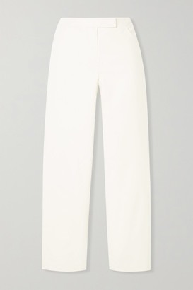 Theory Cropped Brushed-twill Straight-leg Pants - Ivory