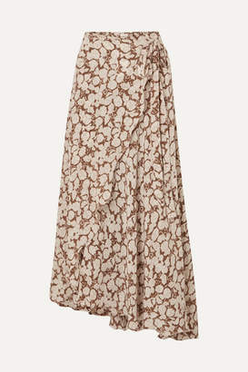 Hannah Artwear - Hazelnut Floral-print Silk Crepe De Chine Wrap Skirt - Brown