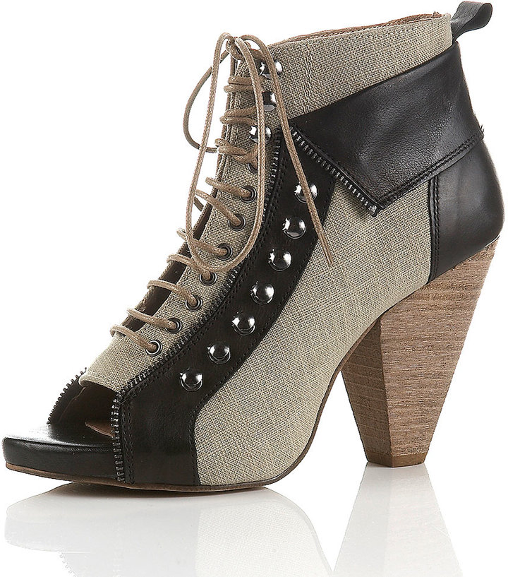 ARMOUR Peep Lace-Up Cuff Boots