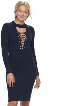 Almost Famous Juniors' Lace-Up Sweater Dress