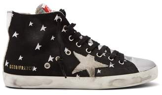 Golden Goose Deluxe Brand - Star Print Distressed Francy High Top Trainers - Womens - Black White