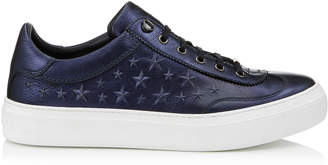 Jimmy Choo ACE Navy Embossed Stars on Metallic Nappa Leather Low Top Trainers