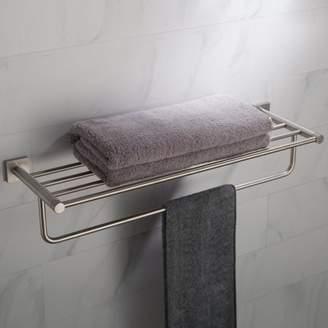 Kraus KRAUS Ventus Bathroom Shelf with Towel Bar, Brushed Nickel Finish