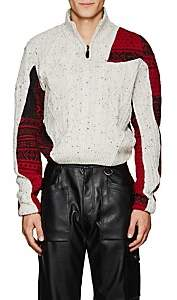 GmbH Men's Patchwork Quarter-Zip Sweater