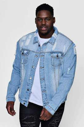 boohoo Big And Tall Blue Washed Distressed Denim