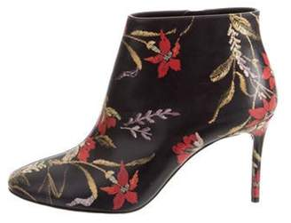 Balenciaga Floral Round-Toe Ankle Boots Red Floral Round-Toe Ankle Boots