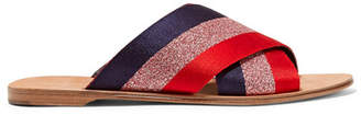 Diane von Furstenberg Bailie Metallic Striped Satin Slides - Red