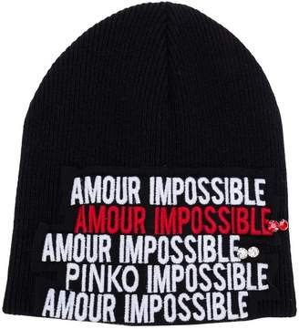 Pinko amour impossible knitted beanie