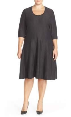 Nic+Zoe 'Twirl' Elbow Sleeve Knit Fit & Flare Dress