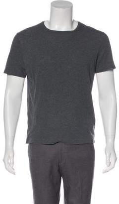 Gucci Crew Neck Leather-Accented T-Shirt