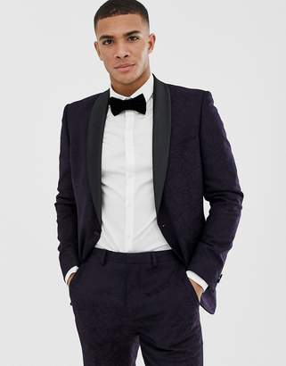 Burton Menswear tuxedo suit jacket in dark purple