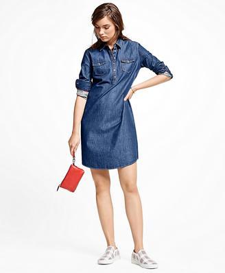 Denim Pullover Dress $118 thestylecure.com