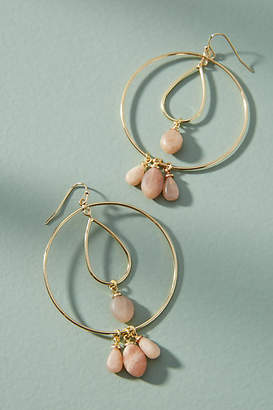 Anthropologie Tumbled Stone Double Hoop Earrings