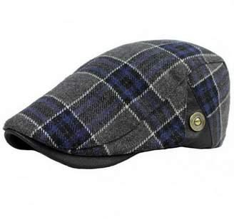 Ukerdo Mens Plaid Flat Berets Hat Newsboy Cabbie Duckbill Caps (A)